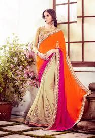 orange wedding sarees buying online korea orange u0026 cream indian sari