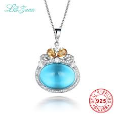 sted necklaces l zuan 925 sterling silver blue topaz citrine choker