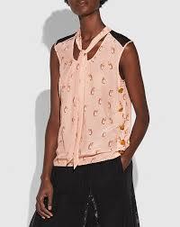 sleeveless tie neck blouse coach penguin print tie neck blouse