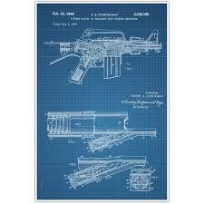 weapons patent print automatic rifle patent blueprint photo art