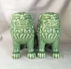 green foo dogs 1980s vintage porcelain foo dogs asian celadon glazed