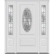 White Front Door White 8 Panel Single Door With Sidelites Front Doors