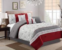 piece flora print burgundygrayivory comforter set and maroon