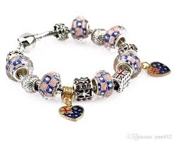 charms bracelet design images Dora bracelet silver plated heart charms english flag design beads jpg