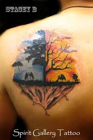 and evil tree with and demons on the shoulder