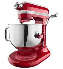 simple kitchen with glossy red kitchen aid professional hd stand