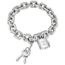 white gold bracelet with charm images Louis vuitton 18k white gold padlock keys charm bracelet jpg