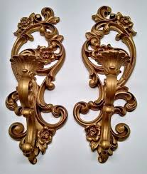 Gold Wall Sconce Candle Holder Pr Vintage Hollywood Regency Gold Wall Sconces Candle Holders