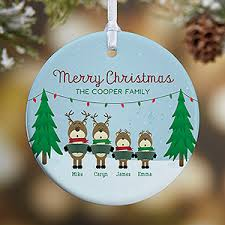 personalized family ornament reindeer characters