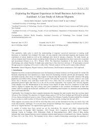 exploring the migrant experience in small business activities in