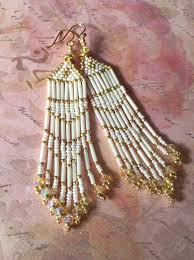 Handmade Seed Beaded Gold Plated Seed Bead Fringe Earrings Long Cream And Gold By Workofheart