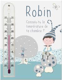thermomètre mural chambre bébé cadre thermomètre prénom pour chambre bébé garçon avec lutin perché