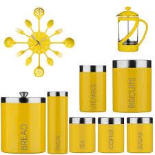 yellow kitchen canisters amazing kenya cafeteria tea coffee sugar jars bread bin clock