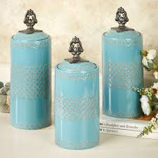 Green Canister Sets Kitchen Safiya Turquoise Kitchen Canister Set