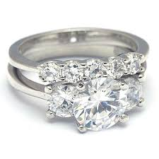 silver wedding ring 2 carat cut cz three silver wedding ring set