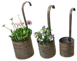 hanging metal flower planters with handles set of 3 farmhouse