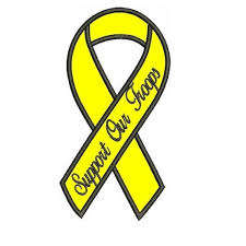 black and yellow ribbon our troops yellow ribbon with black outline applique machine