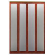 wood bi fold doors interior closet doors the home depot 48 in x 80 in mir mel cherry mirror solid core mdf