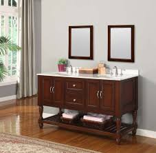 bathroom trough sink with wood cabinet vanity and double wall