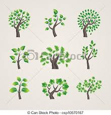 different types of trees set of vector trees set of different types vector tree clip art