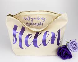 asking bridesmaid gifts personalised bridesmaid gift make up bag will you be my