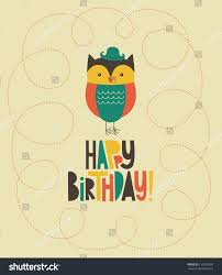 happy owl birthday card design vector stock vector 135556580