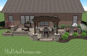 Backyard Brick Patio Design With 12 X 12 Pergola Grill Station by Creative Brick Patio Design With Pergola Fire Pit U0026 Bar