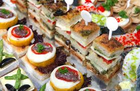 canap toast a foil covered tray of assorted gourmet canapes including sushi