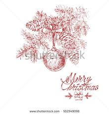 hand drawn sketch christmas tree isolated stock vector 502949098