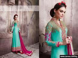 designer sky blue u0026 pink silk georgette embroidery stone work with