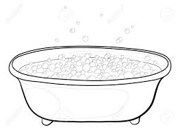 Old Bathtubs Old Bathtub With Bubbles Of Soap Suds Contours Vector Royalty