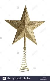 gold tree topper ornament cut out on white