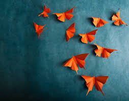 Home Art Decor by 3d Wall Butterflies Carrot Orange Butterfly Silhouettes For