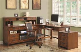 L Shaped Desk For Home Office Maclay 4 Piece L Shaped Desk Home Office Set In Red Brown Finish