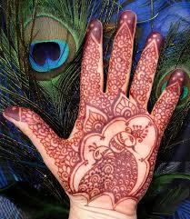 henna peacock palm crescent moon designs