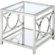 Metal And Glass Coffee Table Modern Glass End Side Tables Allmodern