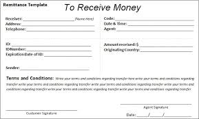 receipt of money template examples