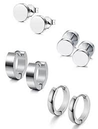 stainless steel stud earrings jstyle 4 pairs stainless steel stud earrings for men