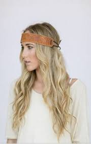 leather headband bohemian leather headband hippie tie by threebirdnest