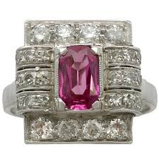 pink star diamond art deco pink star sapphire diamond platinum ring at 1stdibs
