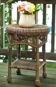round wicker end table classic coastal avalon wicker round end table wicker com