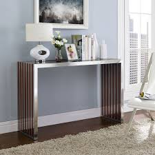 Stainless Steel Sofa Table Modern Sturdy Stainless Steel Console Table With Wood Inlay