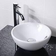 Countertop Sink Bathroom Basin Bowl White Ceramic Amazoncouk - Basin bathroom sinks