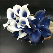 cala lilies navy blue picasso calla lilies real touch flowers for wedding