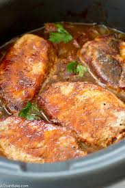 crockpot pork chops with barbecue sauce apples and onions this
