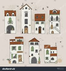 mediterranean houses hand drawn doodle sketch stock vector
