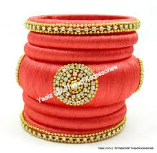 yaalz assorted silk thread bangle collection in peach pink color s