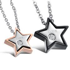love star necklace images Love star shape stainless steel cz inlaid couple necklaces tangeel jpg