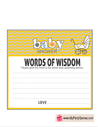 words of wisdom cards words of wisdom baby shower yellow png
