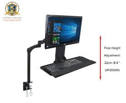 monitor and keyboard arm desk mount gsa12 gas spring sit stand work station w adjustable keyboard tray
